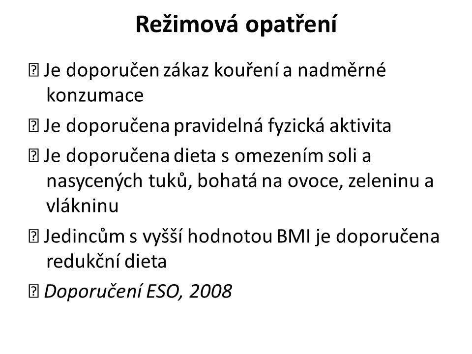Režimová opatření Je doporučen zákaz kouření a nadměrné konzumace Je doporučena pravidelná fyzická aktivita Je doporučena dieta s omezením soli a nasycených tuků, bohatá na ovoce, zeleninu a vlákninu Jedincům s vyšší hodnotou BMI je doporučena redukční dieta Doporučení ESO, 2008