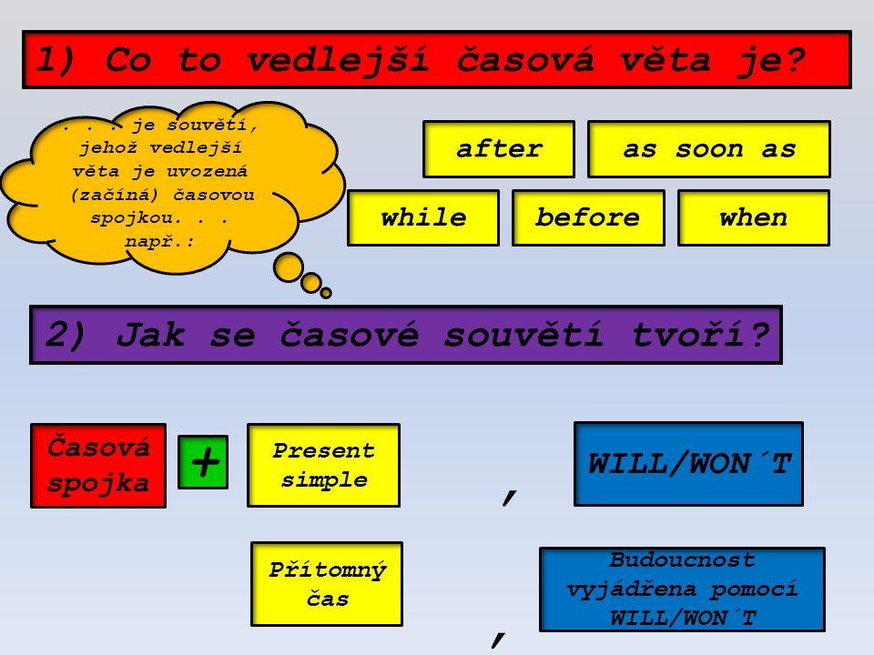 2) Jak se časové souvětí tvoří? 1) Co to vedlejší časová věta je? Present simple Přítomný čas WILL/WON´T Budoucnost vyjádřena pomocí WILL/WON´T +,, af