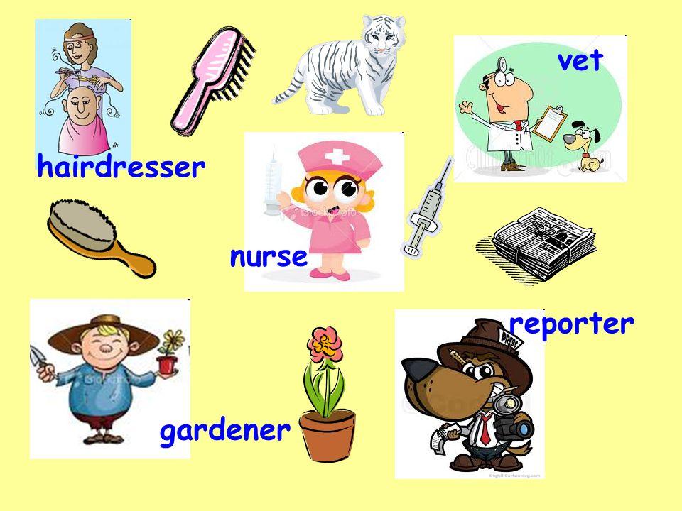 nurse gardener vet hairdresser reporter