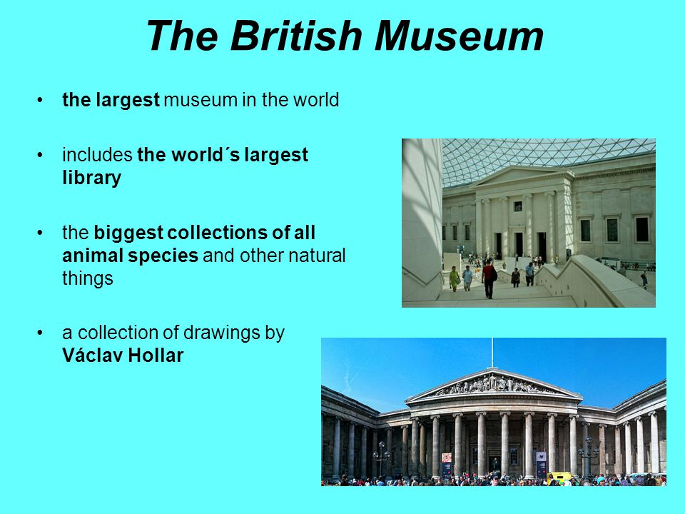 The British Museum the largest museum in the world includes the world´s largest library the biggest collections of all animal species and other natural things a collection of drawings by Václav Hollar