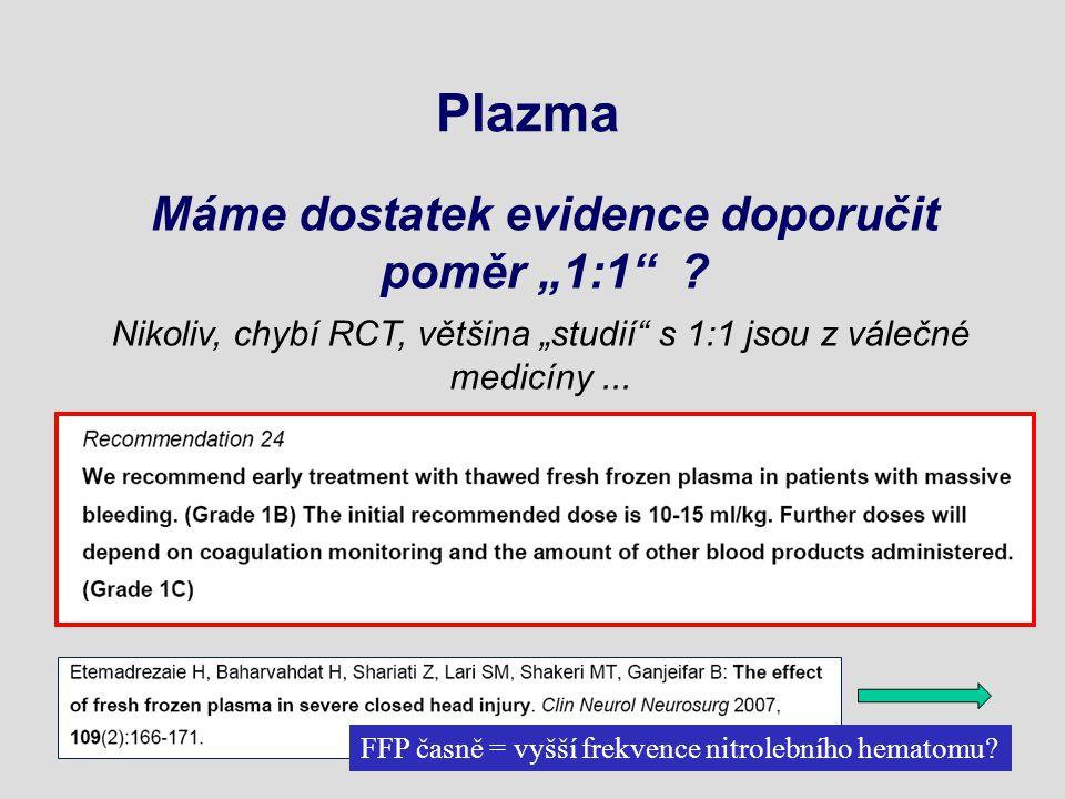 """Plazma Máme dostatek evidence doporučit poměr """"1:1 ."""