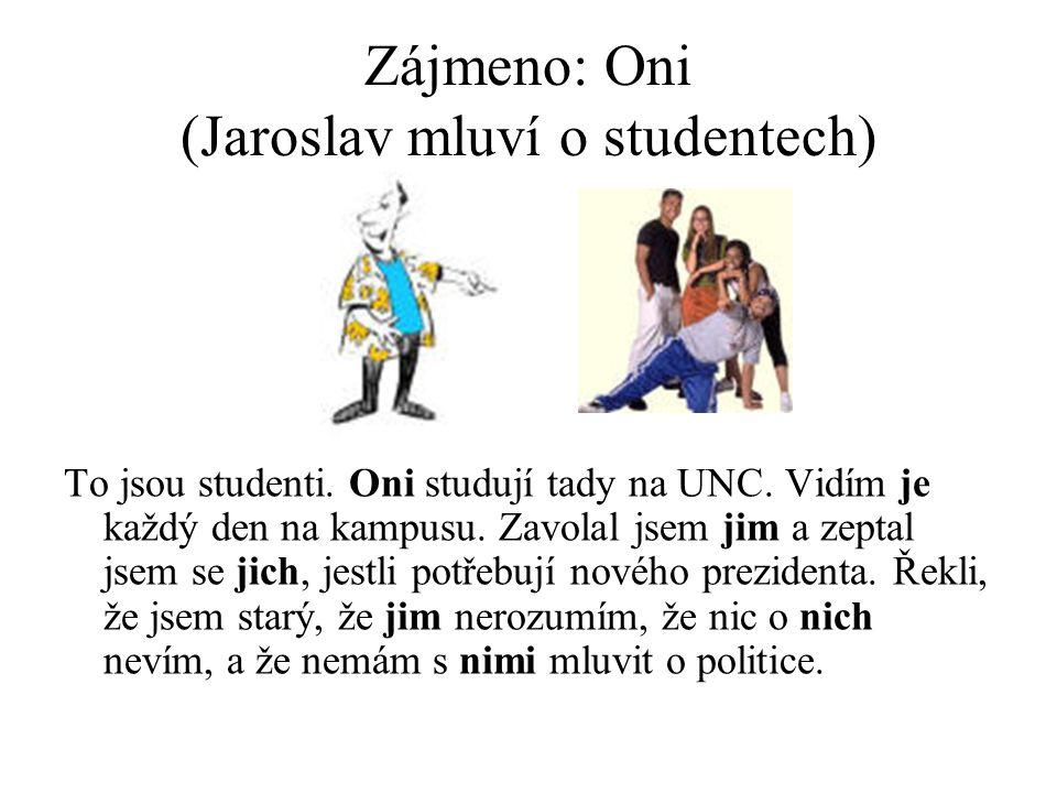 Zájmeno: Oni (Jaroslav mluví o studentech) To jsou studenti.