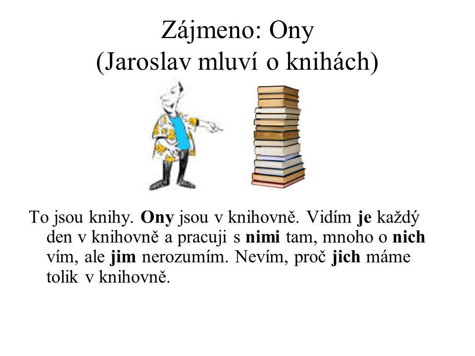 Zájmeno: Ony (Jaroslav mluví o knihách) To jsou knihy.