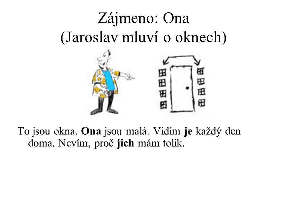 Zájmeno: Ona (Jaroslav mluví o oknech) To jsou okna.