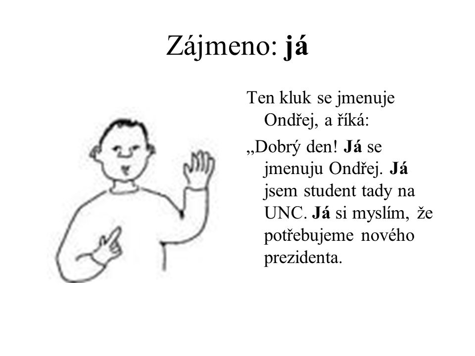 """Zájmeno: já Ten kluk se jmenuje Ondřej, a říká: """"Dobrý den."""