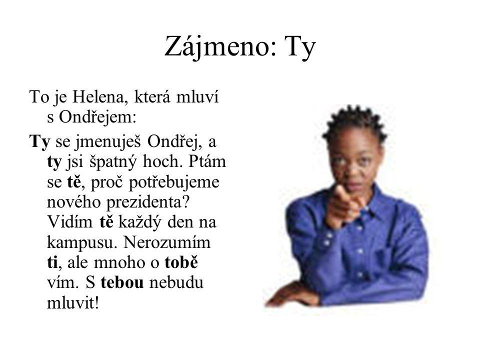 Zájmeno: Ty To je Helena, která mluví s Ondřejem: Ty se jmenuješ Ondřej, a ty jsi špatný hoch.