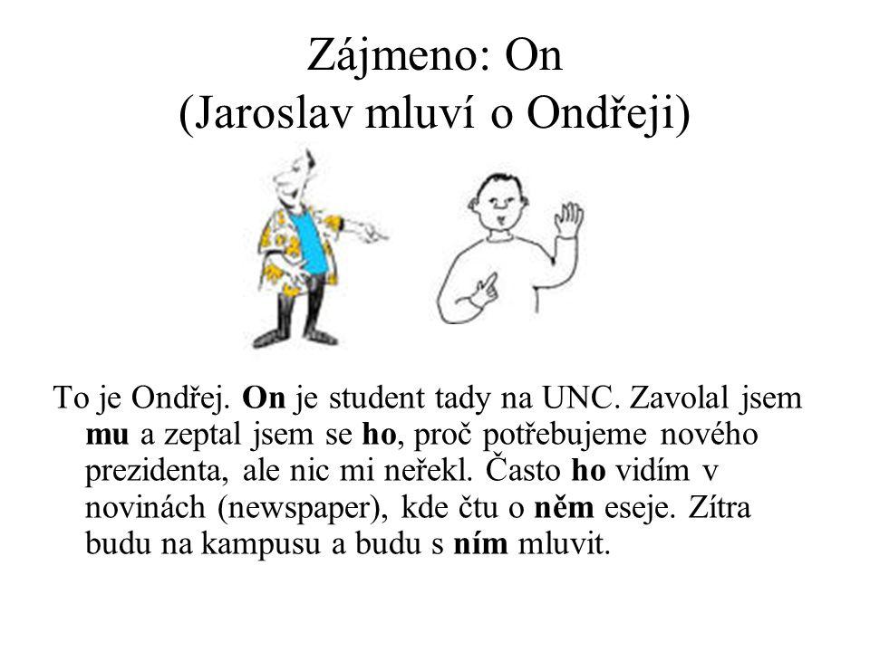 Zájmeno: On (Jaroslav mluví o Ondřeji) To je Ondřej.