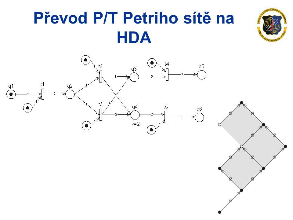 Převod P/T Petriho sítě na HDA