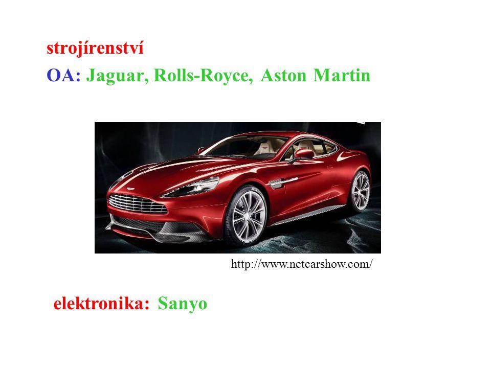 strojírenství OA: Jaguar, Rolls-Royce, Aston Martin http://www.netcarshow.com/ elektronika: Sanyo