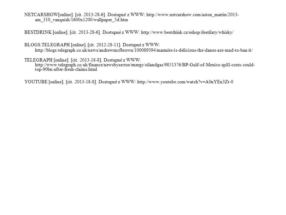 NETCARSHOW[online]. [cit. 2013-28-6]. Dostupné z WWW: http://www.netcarshow.com/aston_martin/2013- am_310_vanquish/1600x1200/wallpaper_5d.htm BESTDRIN