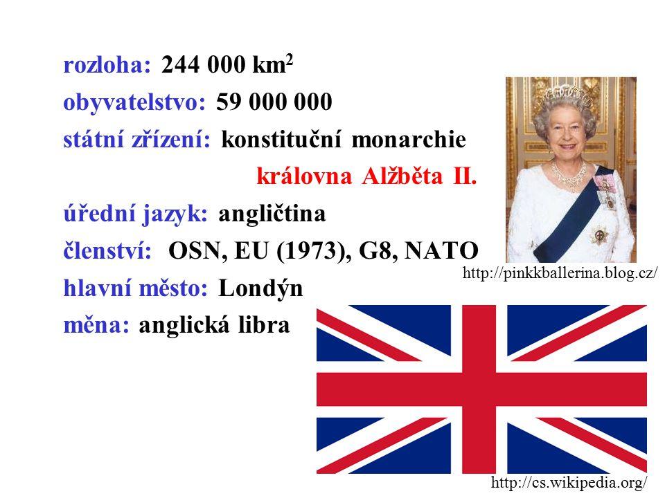 rozloha: 244 000 km 2 obyvatelstvo: 59 000 000 státní zřízení: konstituční monarchie královna Alžběta II. úřední jazyk: angličtina členství: OSN, EU (
