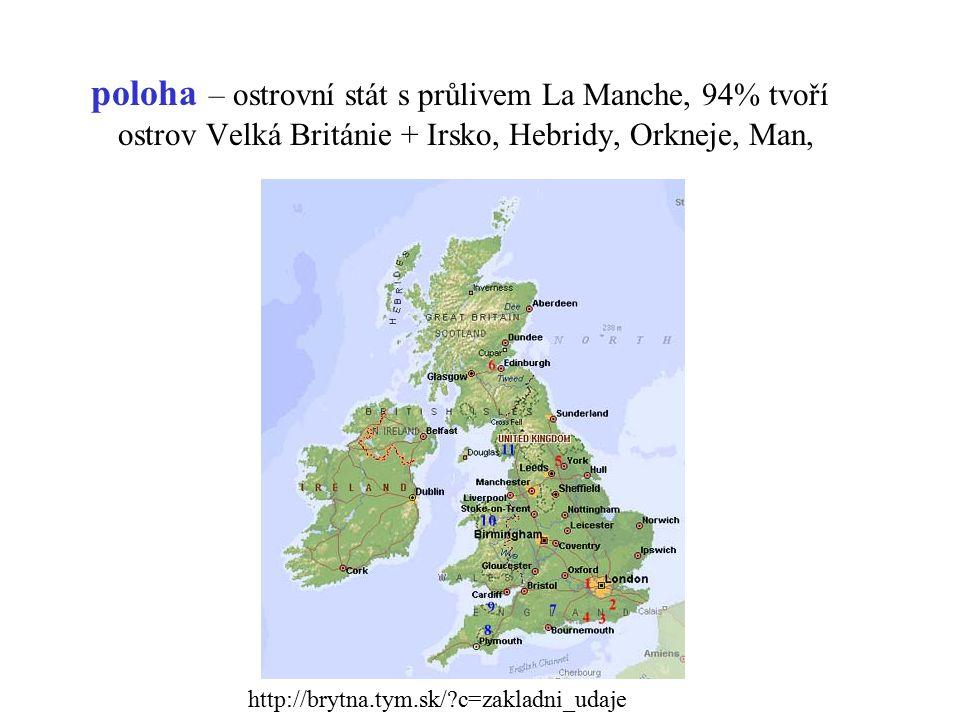 poloha – ostrovní stát s průlivem La Manche, 94% tvoří ostrov Velká Británie + Irsko, Hebridy, Orkneje, Man, http://brytna.tym.sk/?c=zakladni_udaje