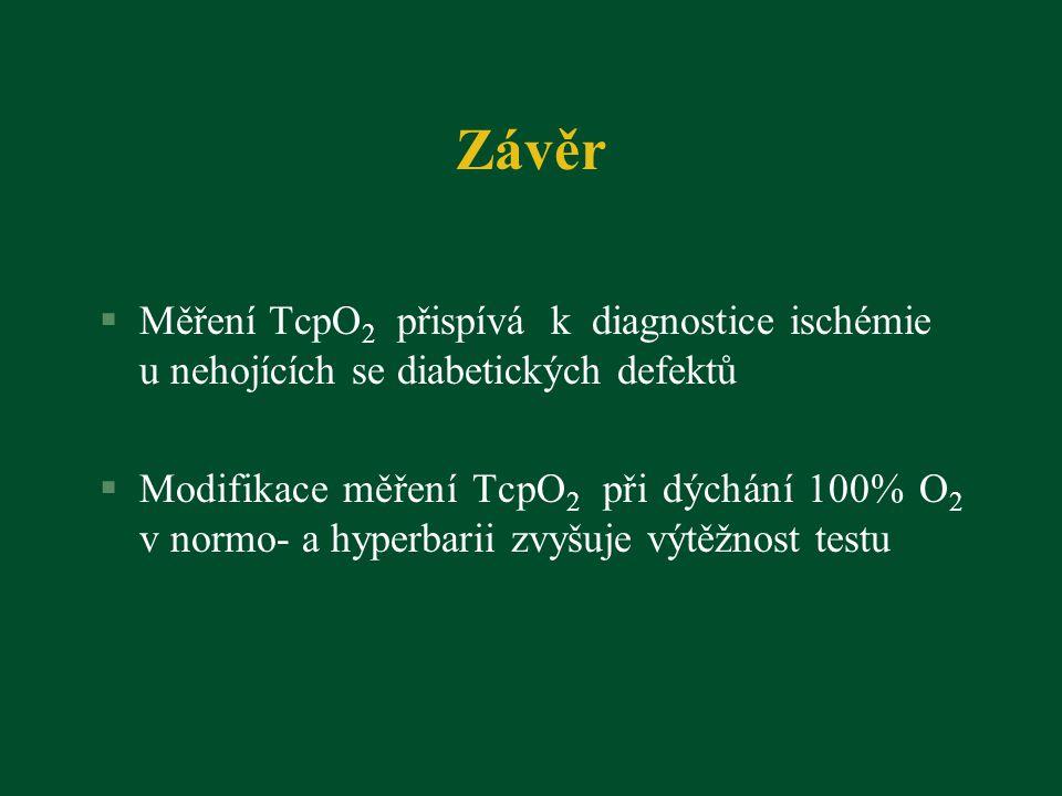 Závěr §Měření TcpO 2 přispívá k diagnostice ischémie u nehojících se diabetických defektů §Modifikace měření TcpO 2 při dýchání 100% O 2 v normo- a hyperbarii zvyšuje výtěžnost testu