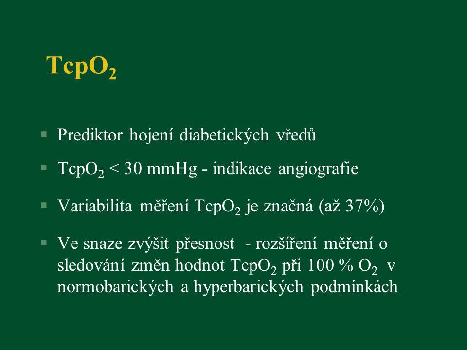 TcpO 2 §Prediktor hojení diabetických vředů §TcpO 2 < 30 mmHg - indikace angiografie §Variabilita měření TcpO 2 je značná (až 37%) §Ve snaze zvýšit přesnost - rozšíření měření o sledování změn hodnot TcpO 2 při 100 % O 2 v normobarických a hyperbarických podmínkách