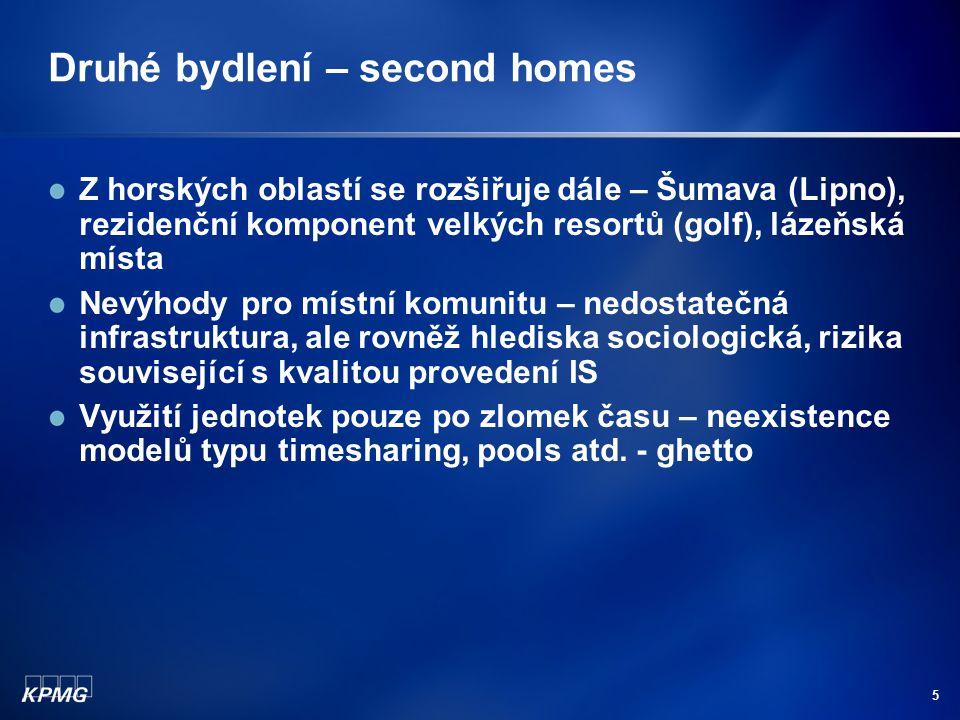 5 Druhé bydlení – second homes Z horských oblastí se rozšiřuje dále – Šumava (Lipno), rezidenční komponent velkých resortů (golf), lázeňská místa Nevýhody pro místní komunitu – nedostatečná infrastruktura, ale rovněž hlediska sociologická, rizika související s kvalitou provedení IS Využití jednotek pouze po zlomek času – neexistence modelů typu timesharing, pools atd.