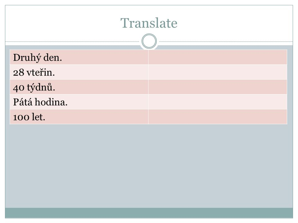 Translate Druhý den. 28 vteřin. 40 týdnů. Pátá hodina. 100 let.