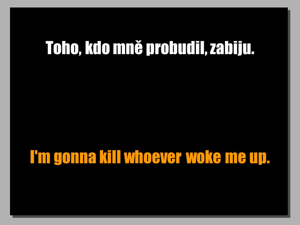 Toho, kdo mně probudil, zabiju. I'm gonna kill whoever woke me up.