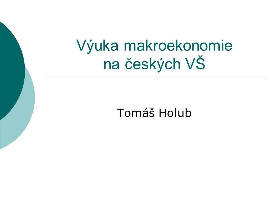 Výuka makroekonomie na IES FSV UK  Bakalář: Ekonomie II: Samuelson (1991), Mankiw (1999), Holman (1999) Macroeconomics I, II: Cahlík (1998), Mankiw (2003), Burda-Wyplosz (1993), Barro (1993)  Magistr: Makroekonomie AI: Romer (1996) International Macro: Obstfeld-Rogoff (1996)  Volitelné předměty Monetary Economics, International Finance, Monetary Policy and Business Cycle, Business Cycles Theory, Economic Dynamics, European Economic Policies, etc.