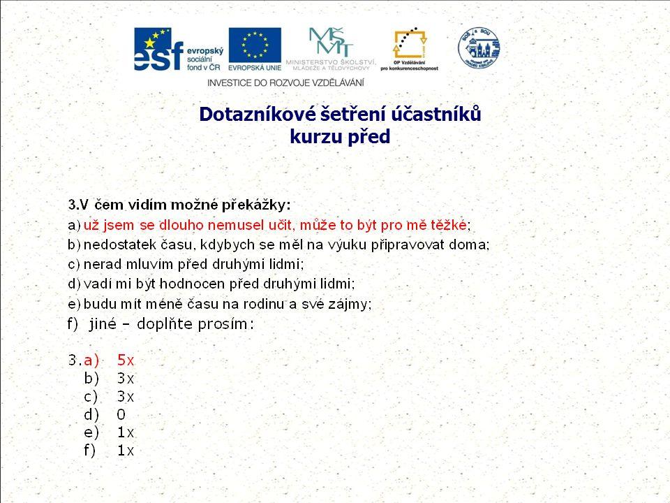 Dotazníkové šetření účastníků kurzu po