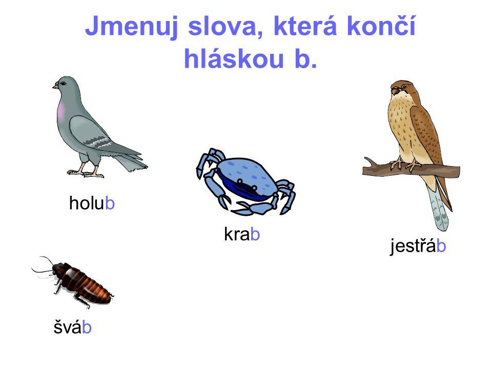 Jmenuj slova, která končí hláskou b. holub krab jestřáb šváb