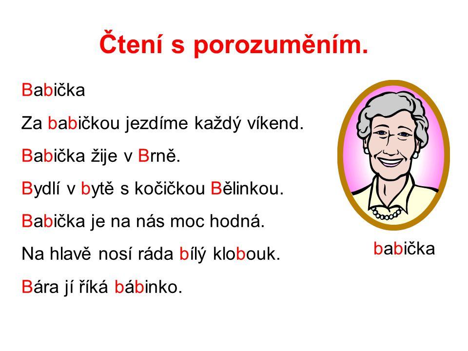 Čtení s porozuměním. Babička Za babičkou jezdíme každý víkend. Babička žije v Brně. Bydlí v bytě s kočičkou Bělinkou. Babička je na nás moc hodná. Na
