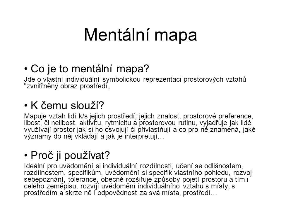 Mentální mapa Co je to mentální mapa? Jde o vlastní individuální symbolickou reprezentaci prostorových vztahů