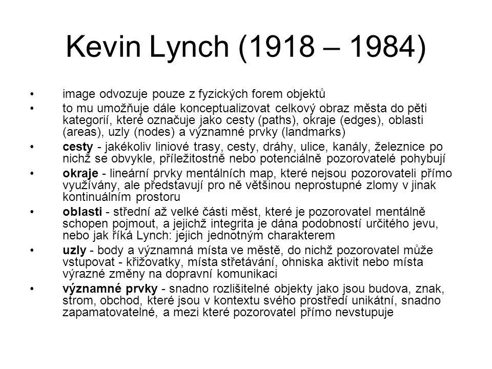 Kevin Lynch (1918 – 1984) image odvozuje pouze z fyzických forem objektů to mu umožňuje dále konceptualizovat celkový obraz města do pěti kategorií, k
