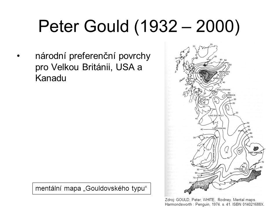 """národní preferenční povrchy pro Velkou Británii, USA a Kanadu Peter Gould (1932 – 2000) mentální mapa """"Gouldovského typu"""" Zdroj: GOULD, Peter; WHITE,"""