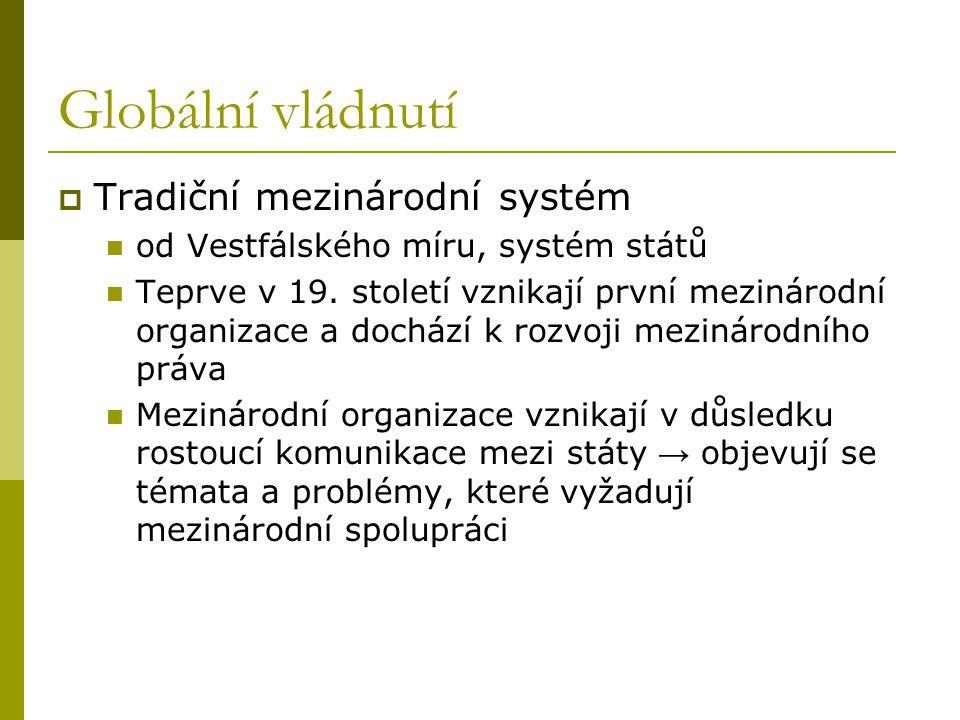 Globální vládnutí  Tradiční mezinárodní systém od Vestfálského míru, systém států Teprve v 19. století vznikají první mezinárodní organizace a docház