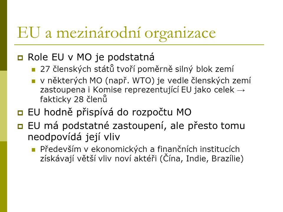 EU a mezinárodní organizace  Role EU v MO je podstatná 27 členských států tvoří poměrně silný blok zemí v některých MO (např. WTO) je vedle členských