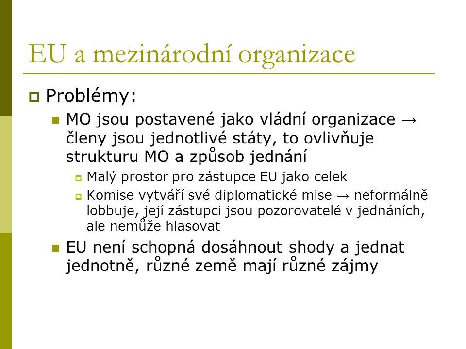EU a mezinárodní organizace  Problémy: MO jsou postavené jako vládní organizace → členy jsou jednotlivé státy, to ovlivňuje strukturu MO a způsob jed