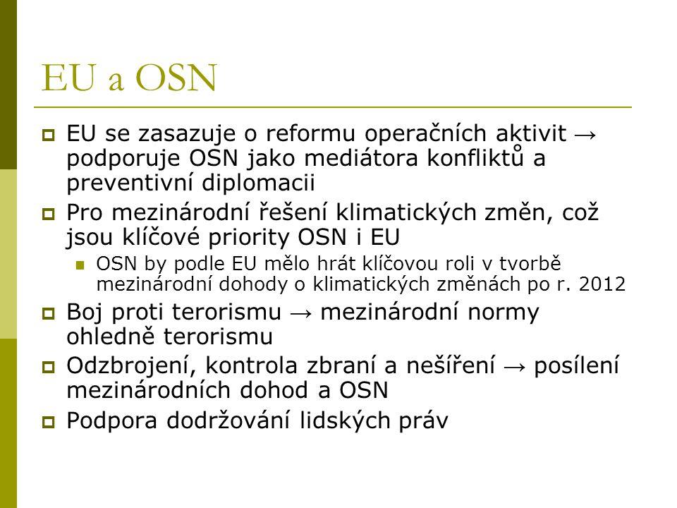 EU a OSN  EU se zasazuje o reformu operačních aktivit → podporuje OSN jako mediátora konfliktů a preventivní diplomacii  Pro mezinárodní řešení klim