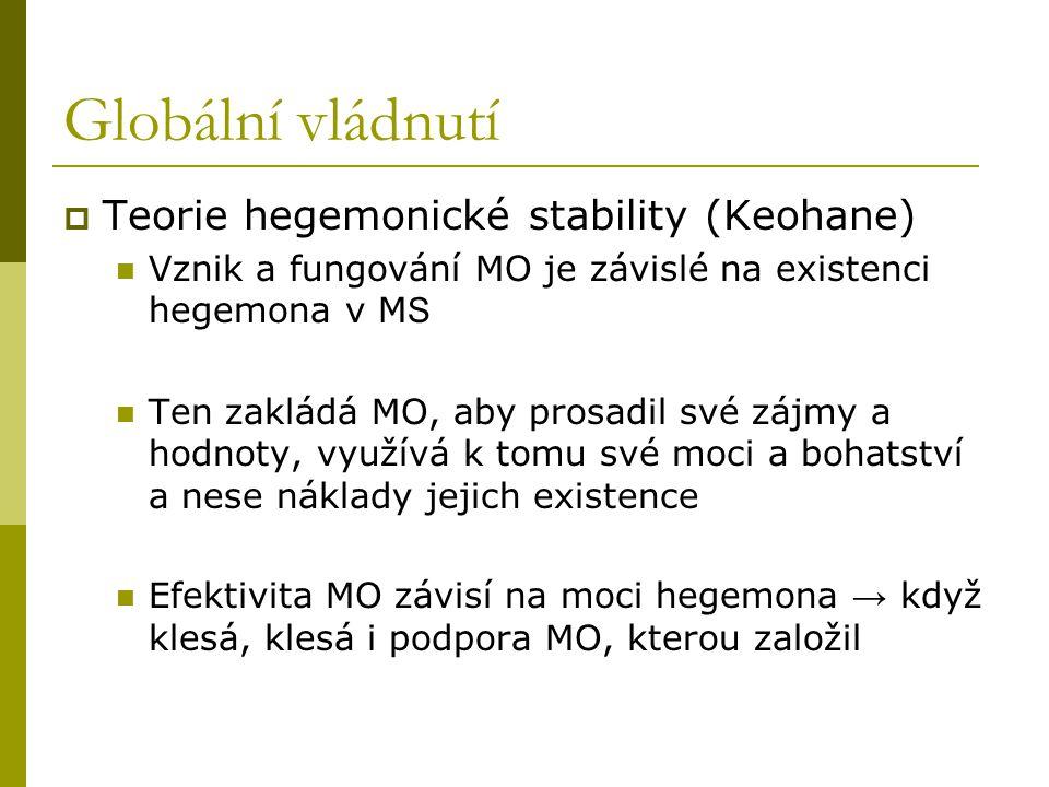 Globální vládnutí  Teorie hegemonické stability (Keohane) Vznik a fungování MO je závislé na existenci hegemona v M S Ten zakládá MO, aby prosadil sv