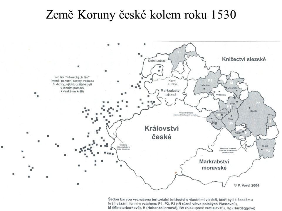 Země Koruny české kolem roku 1530