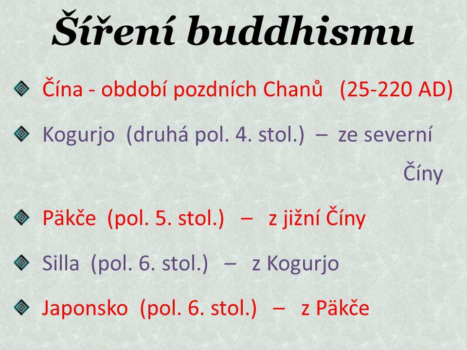 Šíření buddhismu Čína - období pozdních Chanů (25-220 AD) Kogurjo (druhá pol. 4. stol.) – ze severní Číny Päkče (pol. 5. stol.) – z jižní Číny Silla (