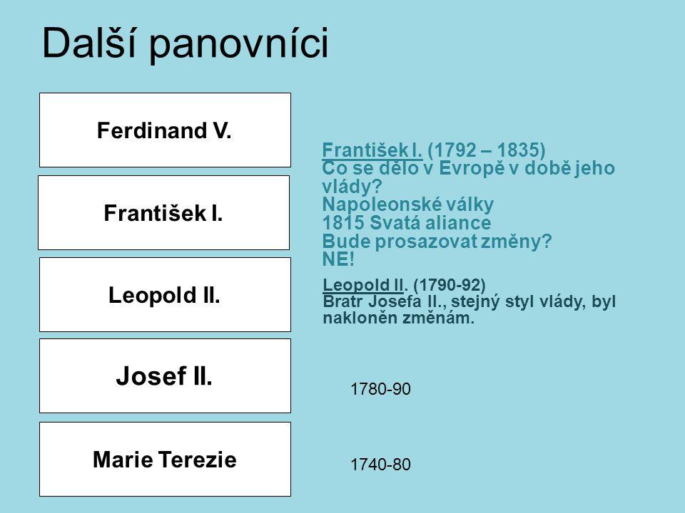 Leopold II. František I. Ferdinand V. Další panovníci Leopold II. (1790-92) Bratr Josefa II., stejný styl vlády, byl nakloněn změnám. František I. (17