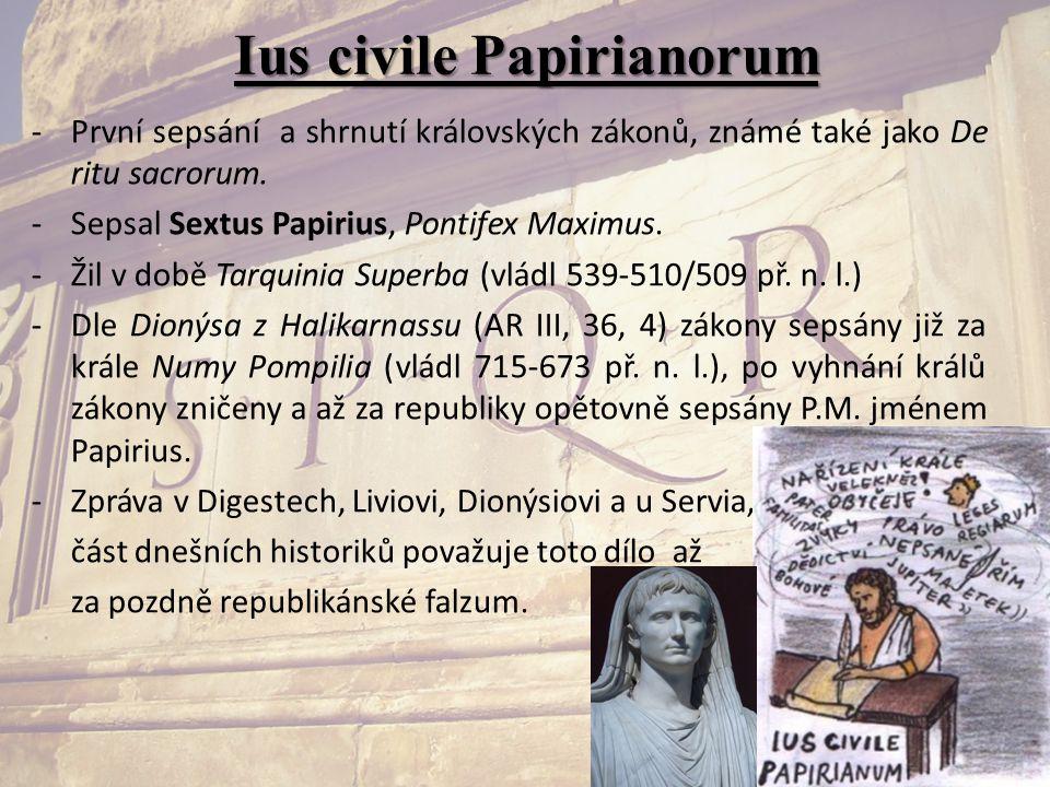 Ius civile Papirianorum -První sepsání a shrnutí královských zákonů, známé také jako De ritu sacrorum. -Sepsal Sextus Papirius, Pontifex Maximus. -Žil