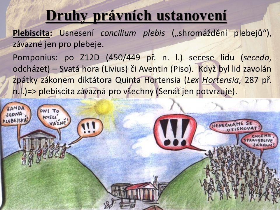 """Druhy právních ustanovení Plebiscita: Usnesení concilium plebis (""""shromáždění plebejů""""), závazné jen pro plebeje. Pomponius: po Z12D (450/449 př. n. l"""
