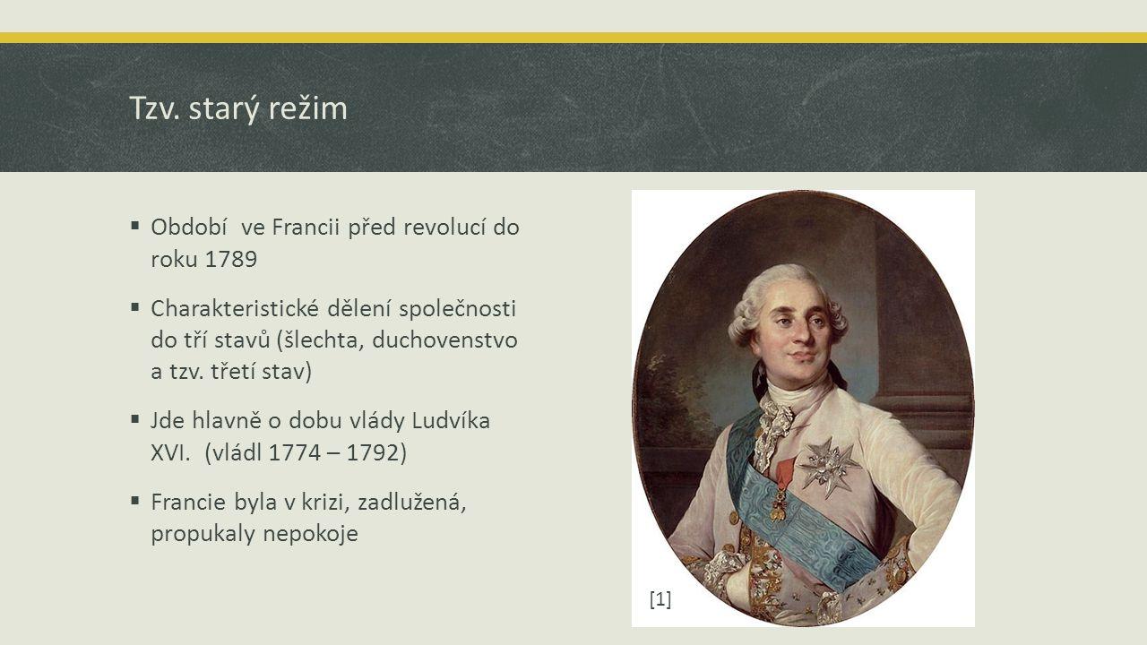Tzv. starý režim  Období ve Francii před revolucí do roku 1789  Charakteristické dělení společnosti do tří stavů (šlechta, duchovenstvo a tzv. třetí