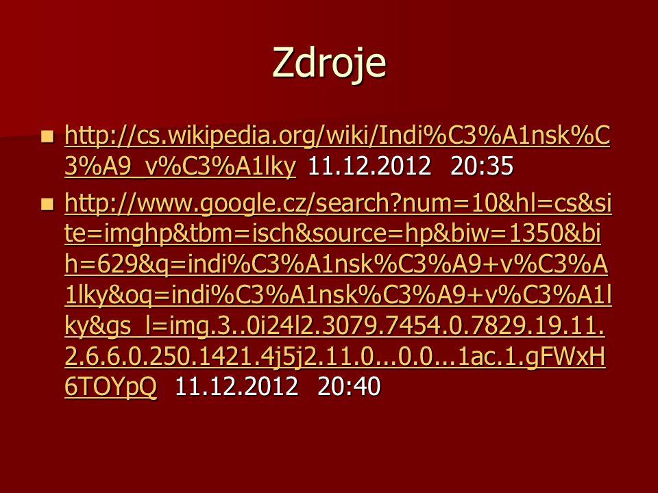 Zdroje http://cs.wikipedia.org/wiki/Indi%C3%A1nsk%C 3%A9_v%C3%A1lky 11.12.2012 20:35 http://cs.wikipedia.org/wiki/Indi%C3%A1nsk%C 3%A9_v%C3%A1lky 11.1