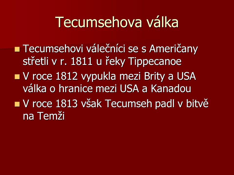 Tecumsehova válka Tecumsehovi válečníci se s Američany střetli v r. 1811 u řeky Tippecanoe Tecumsehovi válečníci se s Američany střetli v r. 1811 u ře