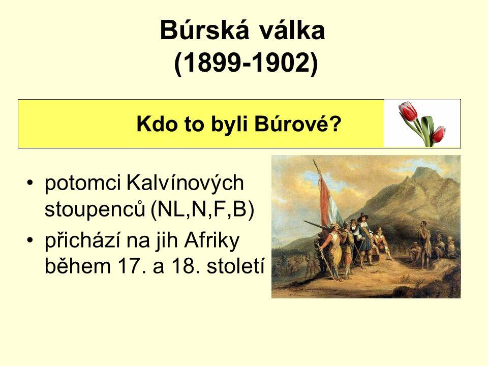 Búrská válka (1899-1902) potomci Kalvínových stoupenců (NL,N,F,B) přichází na jih Afriky během 17. a 18. století Kdo to byli Búrové?