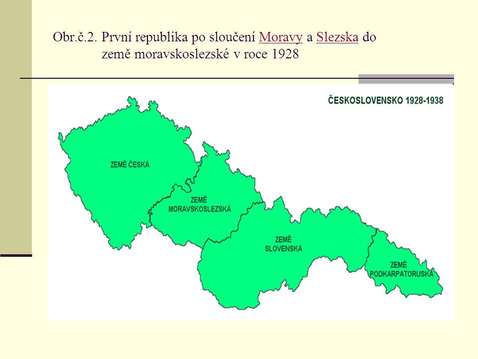 Obr.č.2. První republika po sloučení Moravy a Slezska do země moravskoslezské v roce 1928MoravySlezska