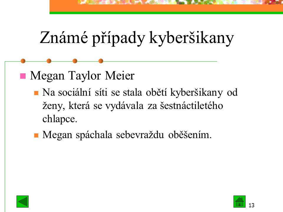 13 Známé případy kyberšikany Megan Taylor Meier Na sociální síti se stala obětí kyberšikany od ženy, která se vydávala za šestnáctiletého chlapce. Meg