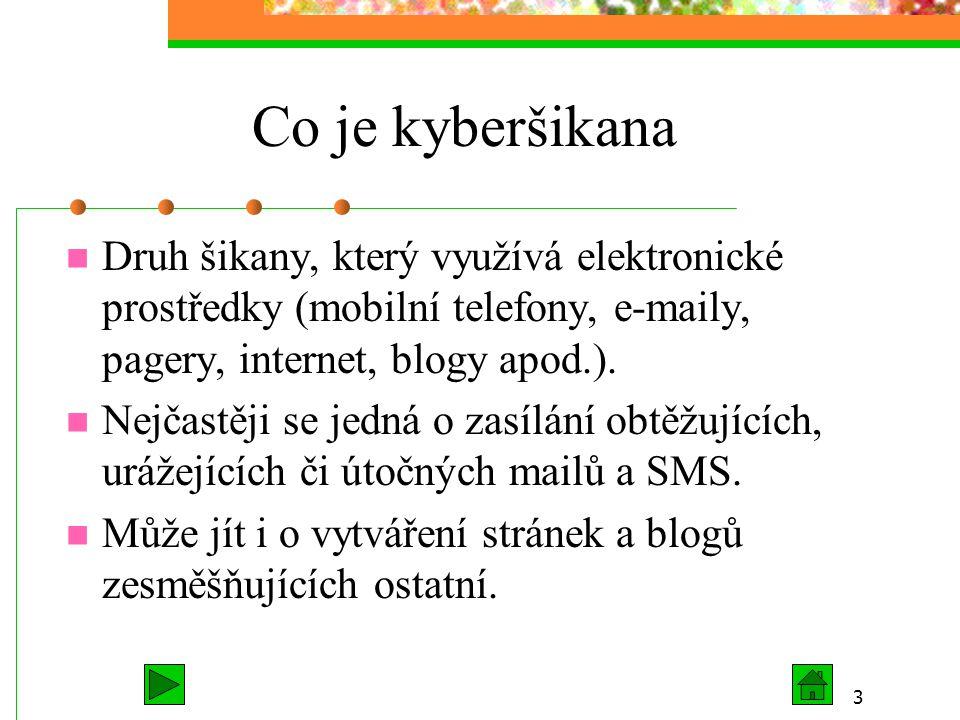 3 Co je kyberšikana Druh šikany, který využívá elektronické prostředky (mobilní telefony, e-maily, pagery, internet, blogy apod.). Nejčastěji se jedná