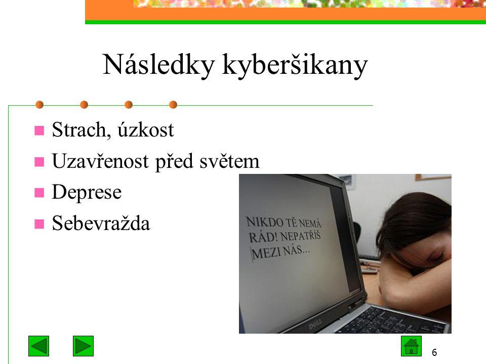 6 Následky kyberšikany Strach, úzkost Uzavřenost před světem Deprese Sebevražda