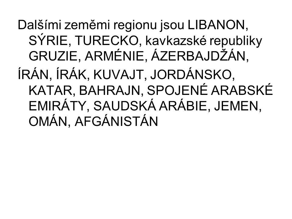 Dalšími zeměmi regionu jsou LIBANON, SÝRIE, TURECKO, kavkazské republiky GRUZIE, ARMÉNIE, ÁZERBAJDŽÁN, ÍRÁN, ÍRÁK, KUVAJT, JORDÁNSKO, KATAR, BAHRAJN,