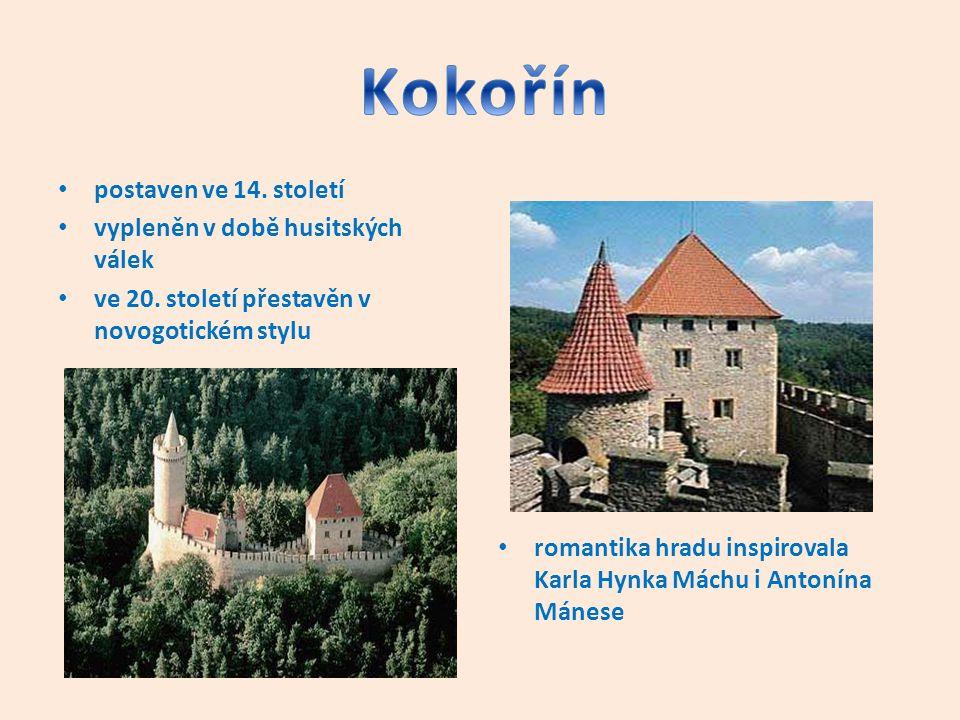 postaven ve 14. století vypleněn v době husitských válek ve 20. století přestavěn v novogotickém stylu romantika hradu inspirovala Karla Hynka Máchu i