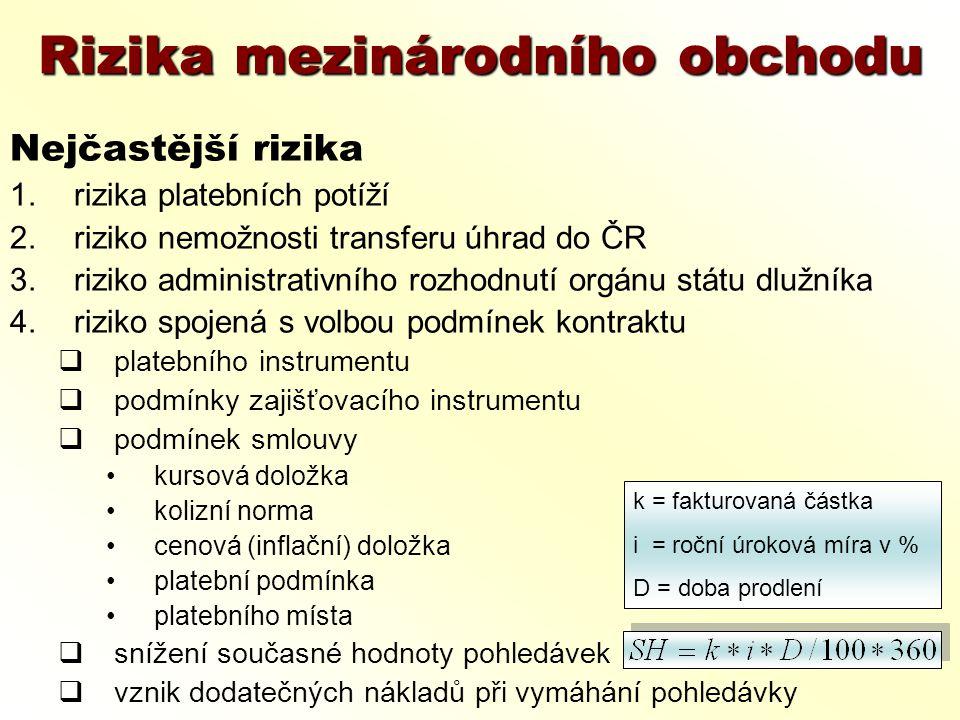 Rizika mezinárodního obchodu Nejčastější rizika 1.rizika platebních potíží 2.riziko nemožnosti transferu úhrad do ČR 3.riziko administrativního rozhod