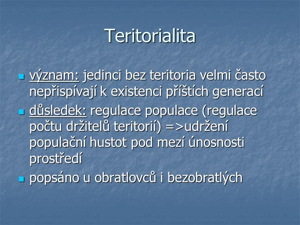 Teritorialita význam: jedinci bez teritoria velmi často nepřispívají k existenci příštích generací význam: jedinci bez teritoria velmi často nepřispívají k existenci příštích generací důsledek: regulace populace (regulace počtu držitelů teritorií) =>udržení populační hustot pod mezí únosnosti prostředí důsledek: regulace populace (regulace počtu držitelů teritorií) =>udržení populační hustot pod mezí únosnosti prostředí popsáno u obratlovců i bezobratlých popsáno u obratlovců i bezobratlých